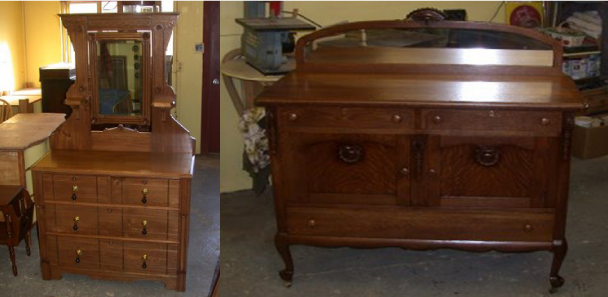 wooden dresser and desk